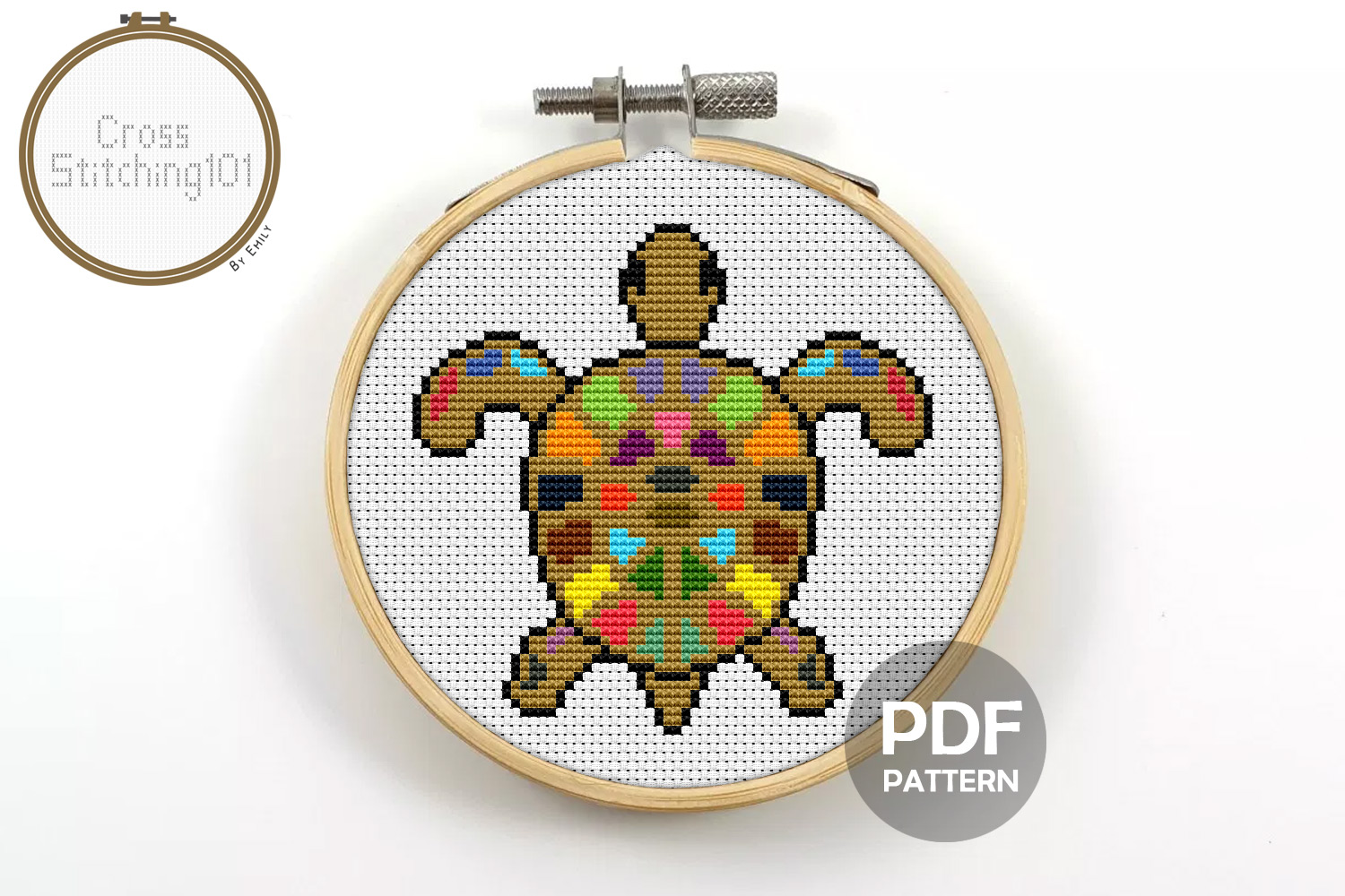 Download Free Turtle Colorful Modern Cross Stitch Graphic By Crossstitching101 for Cricut Explore, Silhouette and other cutting machines.