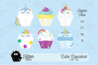 Download Free Unicorns Cupcakes Set Graphic By Kittengraphicstudio Creative for Cricut Explore, Silhouette and other cutting machines.
