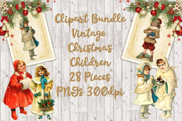 Download Free Vintage Christmas Children Clipart Set Graphic By The Paper for Cricut Explore, Silhouette and other cutting machines.
