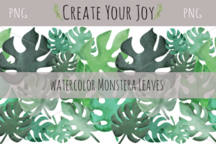 Print on Demand: Watercolor Monstera Leaves Graphic Illustrations By Create Your Joy