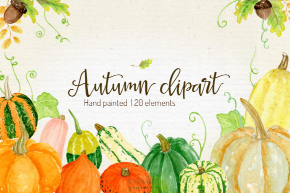 Download Free Watercolor Pumpkins Clipart Graphic By Autumnbreeze Creative for Cricut Explore, Silhouette and other cutting machines.