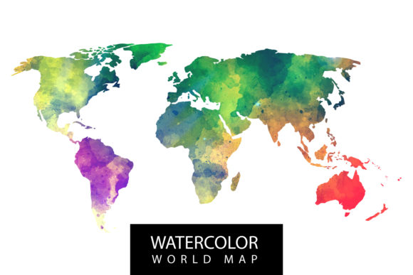 Watercolor World Map Graphic Backgrounds By Manuchi