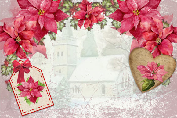 Download Free Watercolour Poinsettia Backgrounds Graphic By The Paper Princess for Cricut Explore, Silhouette and other cutting machines.