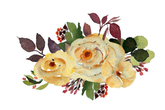 Print on Demand: Watercolour Yellow Rose Graphic Illustrations By Primafox Design - Image 4