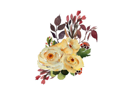 Print on Demand: Watercolour Yellow Rose Graphic Illustrations By Primafox Design - Image 5