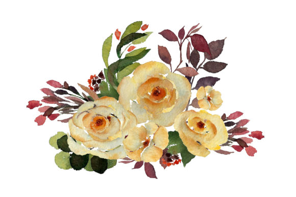 Print on Demand: Watercolour Yellow Rose Graphic Illustrations By Primafox Design - Image 6