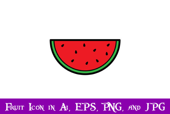 Print on Demand: Watermelon Fruit Icon Graphic Icons By purplespoonpirates