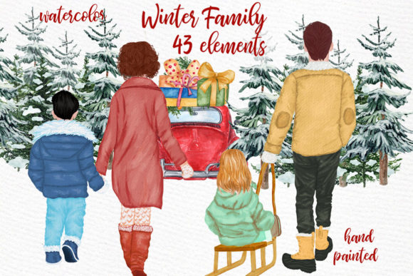 Winter Family Christmas Clipart Gráfico Ilustraciones Por LeCoqDesign