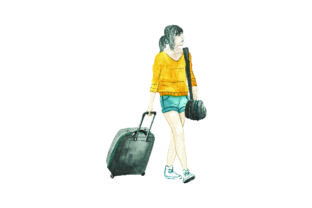 Women Pulling Luggage -watercolor Style Craft Design By Creative Fabrica Crafts