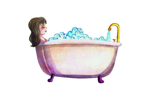 Women Taking Bath - Watercolor Style Badezimmer Plotterdatei von Creative Fabrica Crafts