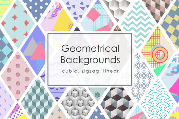 42 Geomertic Backgrounds Graphic Textures By NassyArt
