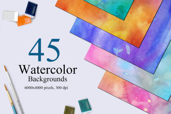 45 Watercolor Backgrounds Graphic Textures By NassyArt