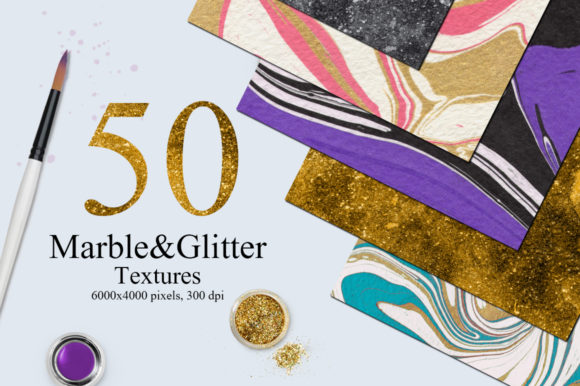 50 Marble and Glitter Textures Graphic Textures By NassyArt