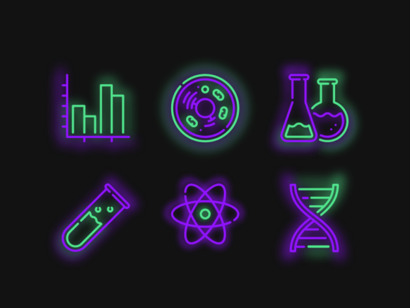6 Neon Science Icons Graphic By codecarnivals