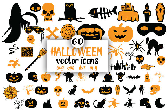Print on Demand: 60 Halloween Vector Icons Graphic Illustrations By CreativeArt