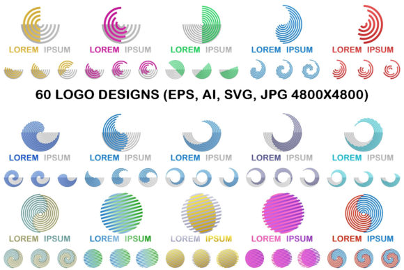 Download Free 60 Round Geometric Logo Designs Graphic By Davidzydd Creative for Cricut Explore, Silhouette and other cutting machines.