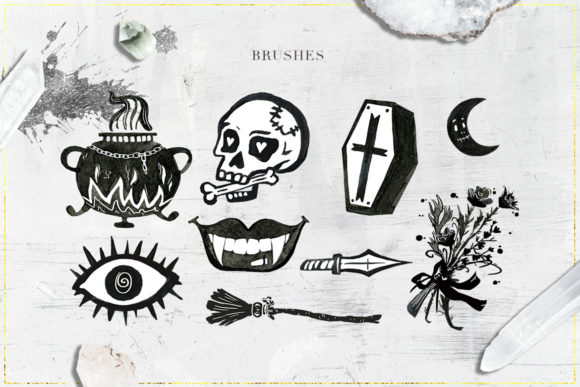 Download Free 75 Witchcraft Photoshop Brushes Grafico Por Nassyart Creative for Cricut Explore, Silhouette and other cutting machines.