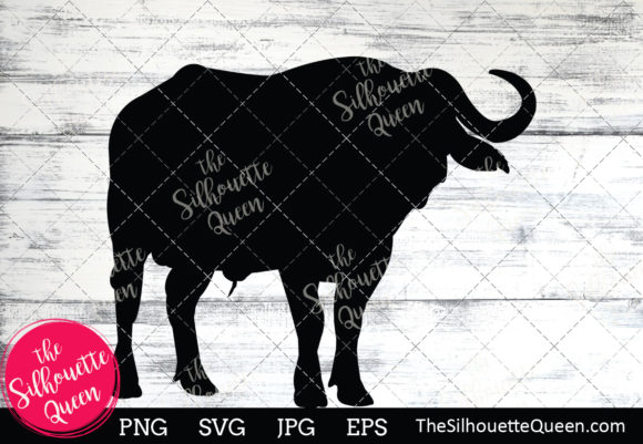 Download Free African Buffalo Silhouette Graphic By Thesilhouettequeenshop for Cricut Explore, Silhouette and other cutting machines.