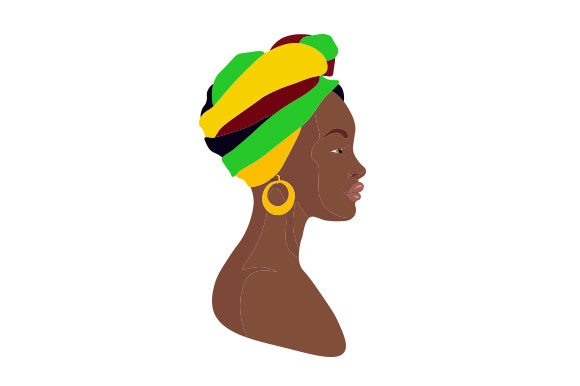 African Woman with Headdress Designs & Drawings Craft Cut File By Creative Fabrica Crafts - Image 1