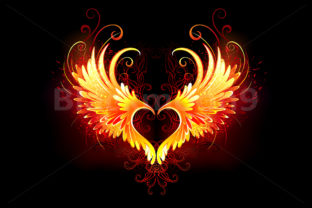 Angel Fire Heart with Wings Graphic By Blackmoon9