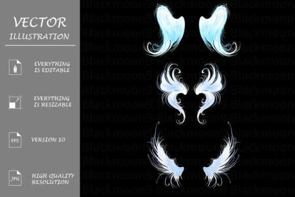 Angels Wings on a Black Background Graphic Illustrations By Blackmoon9
