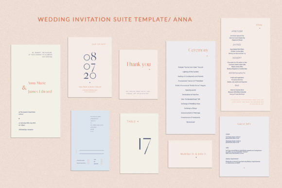 Print on Demand: Anna Wedding Invitation Suite Graphic Print Templates By Primafox Design