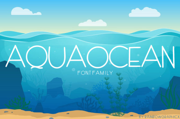 Print on Demand: AquaOcean Sans Serif Fuente Por RainbowGraphicx