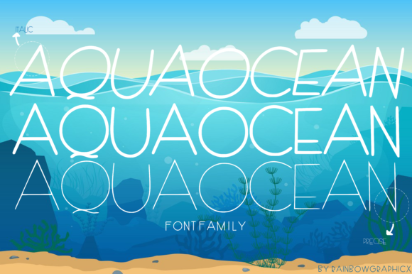 Print on Demand: AquaOcean Sans Serif Font By RainbowGraphicx  - Image 2