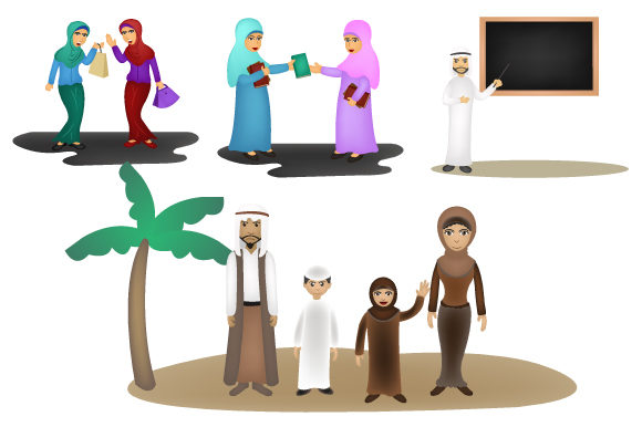 Print on Demand: Arabic People Group Wearing Traditional Clothes Graphic Illustrations By iop_micro