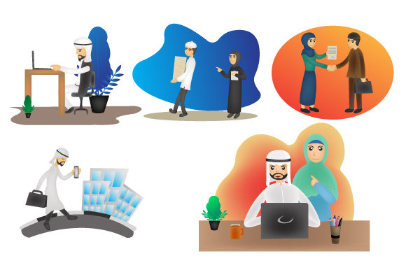 Print on Demand: Arabic People Group Wearing Traditional Clothing Graphic Illustrations By iop_micro