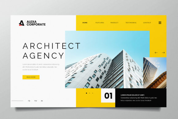 Architect Agency Web Header PSD and AI Graphic UX and UI Kits By alexacrib83
