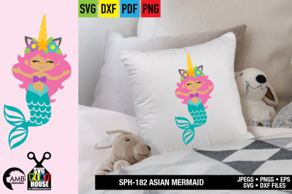 Download Free Asian Unicorn Mermaid Graphic By Ambillustrations Creative Fabrica SVG Cut Files