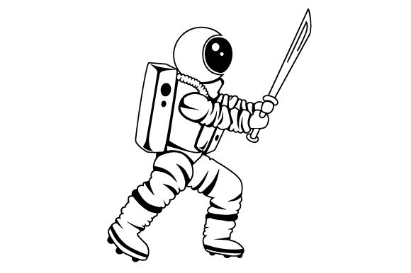 Astronaut Holding Samurai Sword Designs & Drawings Craft Cut File By Creative Fabrica Crafts