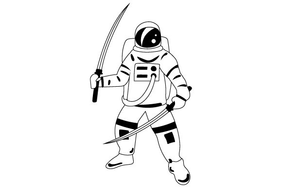 Download Free Astronaut Holding Samurai Swords Svg Cut File By Creative for Cricut Explore, Silhouette and other cutting machines.