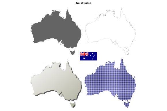 Download Free Australia Outline Map Set Graphic By Davidzydd Creative Fabrica for Cricut Explore, Silhouette and other cutting machines.