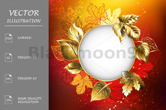 Download Free Autumn Banner With Golden Leaves Graphic By Blackmoon9 for Cricut Explore, Silhouette and other cutting machines.