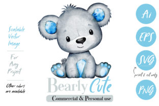 Baby Blue Gray Watercolor Bear Graphic By adlydigital
