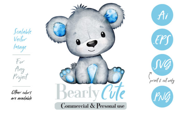 Print on Demand: Baby Blue Gray Watercolor Bear Graphic Illustrations By adlydigital