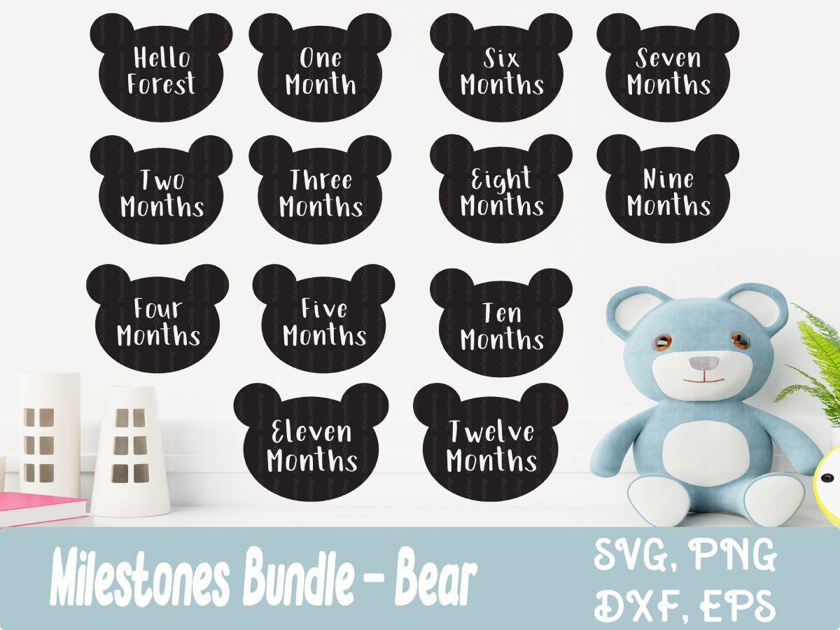 Download Free Baby Milestone Bear Bundle Graphic By Elsielovesdesign for Cricut Explore, Silhouette and other cutting machines.
