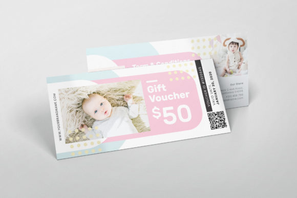 Baby Shop AI and PSD Gift Voucher Graphic Print Templates By alexacrib83