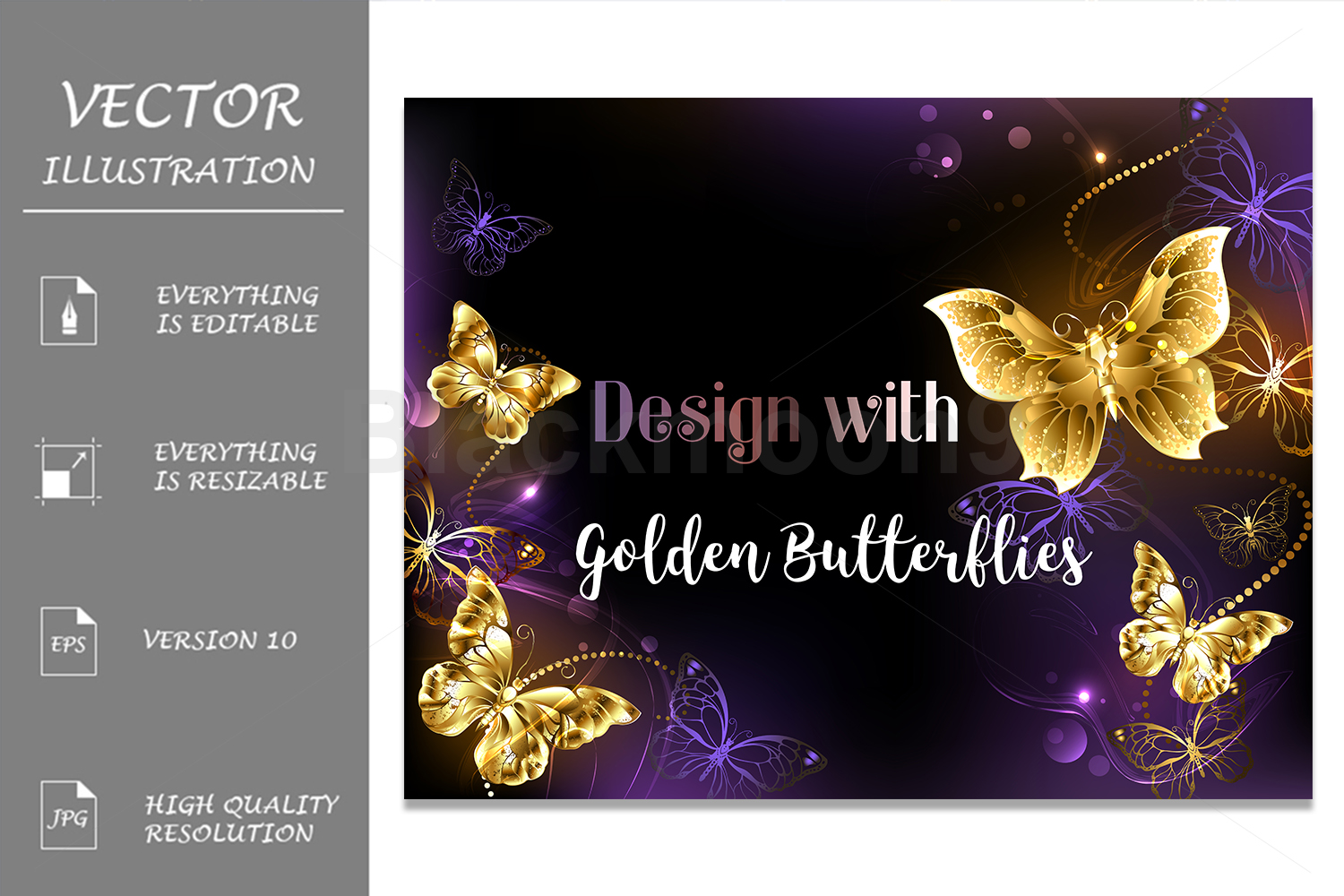 Background With Gold Butterflies Graphic By Blackmoon9