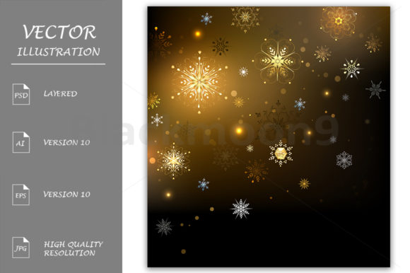 Background with Gold Snowflakes Graphic Backgrounds By Blackmoon9