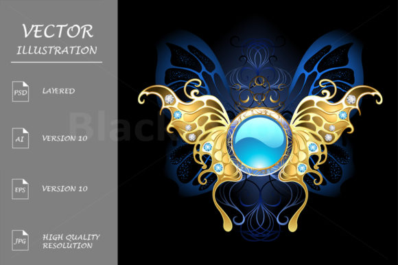 Download Free Banner With Gold Wings Of A Butterfly Graphic By Blackmoon9 for Cricut Explore, Silhouette and other cutting machines.