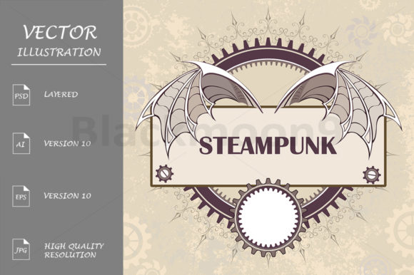 Banner with a Mechanical Dragon Wings Graphic Illustrations By Blackmoon9