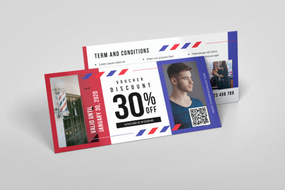 Barbershop AI and PSD Gift Voucher Graphic Print Templates By alexacrib83