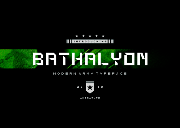Download Free Bathalyon Army Font By Akasatype Creative Fabrica for Cricut Explore, Silhouette and other cutting machines.