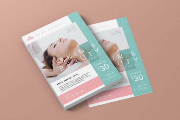 Beauty Spa Promotion AI and PSD Flyer 4 Graphic Print Templates By alexacrib83