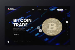 Bitcoin Trading Web Header PSD and AI Graphic By alexacrib83