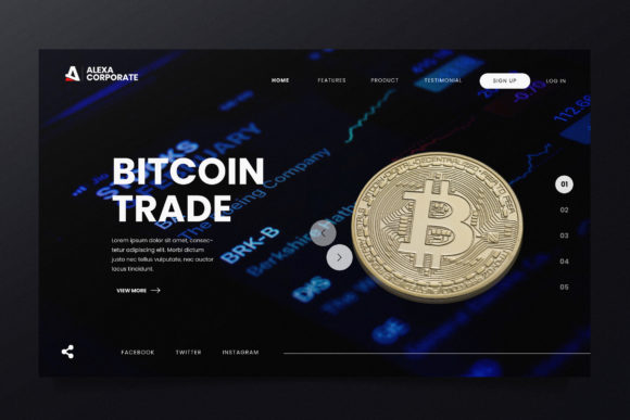 Bitcoin Trading Web Header PSD and AI Graphic Landing Page Templates By alexacrib83