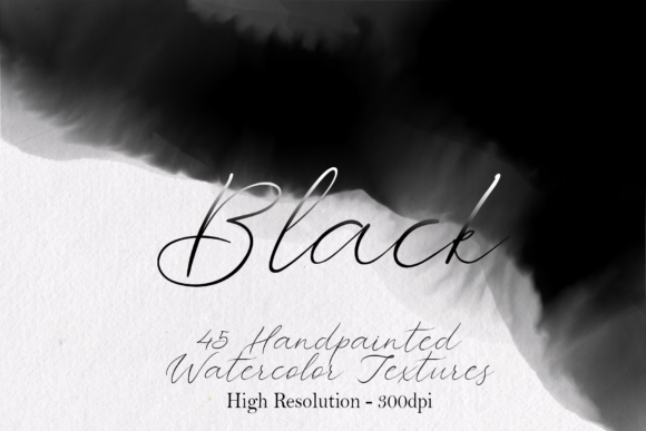 Print on Demand: Black - 45 Watercolor Textures Graphic Textures By lovalu